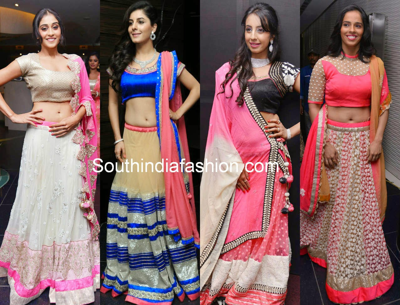 south indian actress in half sarees