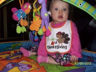 Lydia's first Thanksgiving way back when. I can't believe we had our SECOND baby's first Thanksgiving today. We didn't even bring a camera! Don't worry, the in-laws got some good pictures.