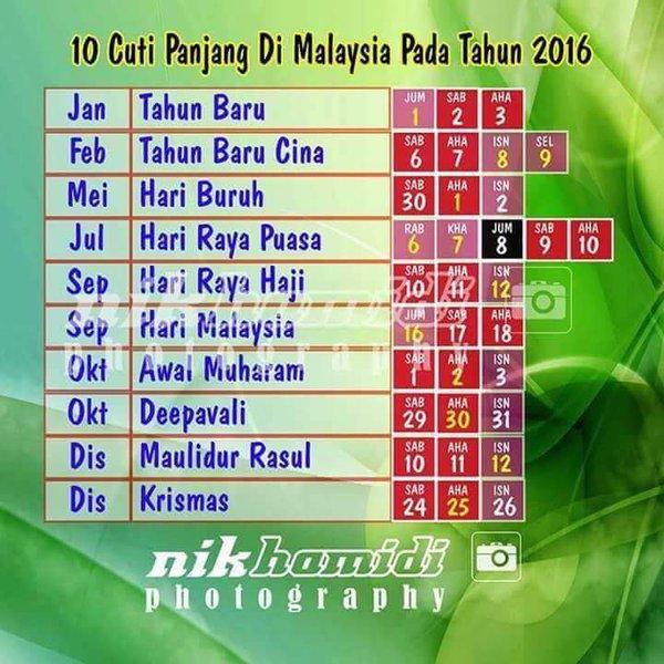 10 Cuti Panjang Di Malaysia Tahun 2016