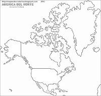 Mapa de la divison politica de Norteamerica (blanco y negro)