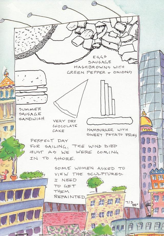 artist journal ink drawings of food