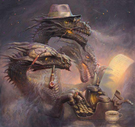Andrew Ferez 25kartinok deviantart ilustrações sombrias surreais O dragão escritor