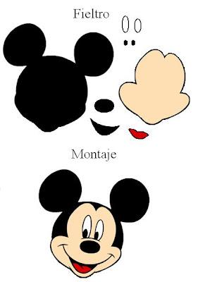 Patrones de fieltro de Mickey Mouse. Broche. Patrones de fieltro