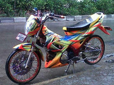 Modifikasi satria fu air brush 3