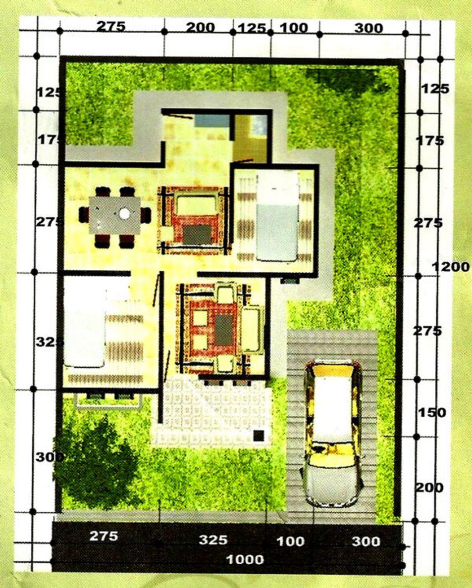 desain denah rumah tipe 45 tanah 12x10 populer
