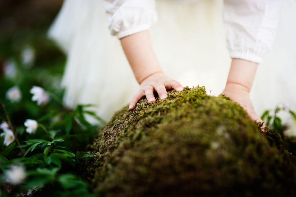 Barnhänder på mossig sten