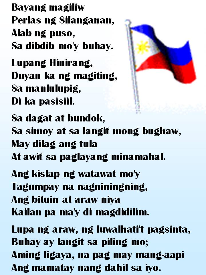 pilipinas bayan kong mahal Filam vets rondalla's medley of selected philippines and american patriotic songs was originally dedicated to the beloved former philippines president corazon aquino for her outstanding example of strength and piety in the face of adversity.