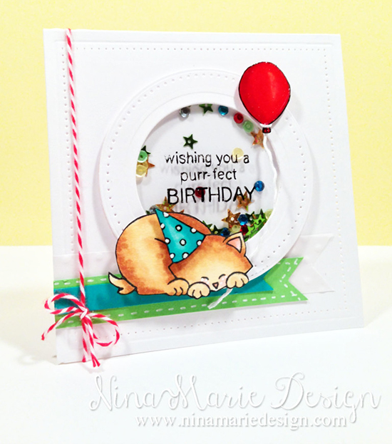 Kitty Shaker Birthday Card by Nina-Marie Designs for Inky Paws Challenge #20 | Netwon's Antics stamp set by Newton's Nook Deisgns