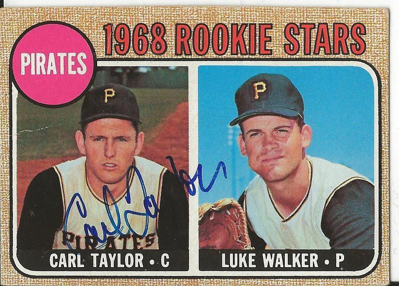Carl Taylor 1968 baseball card (with Luke Walker)