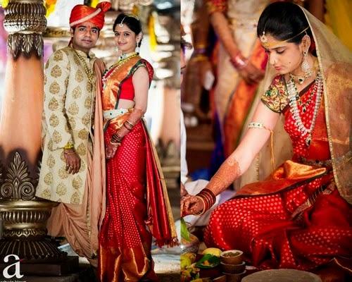 Bride in Red Polka Dots Silk Sari