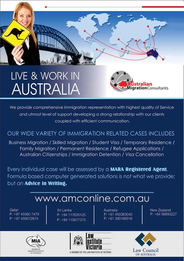 Australian Migration Consultants. Our firm provides comprehensive immigration representation to clients located throughout Australia and the world. We provide the highest quality of service and utmost level of support to our clients. We take great care to develop a strong client relationship, coupled with efficient communication.
