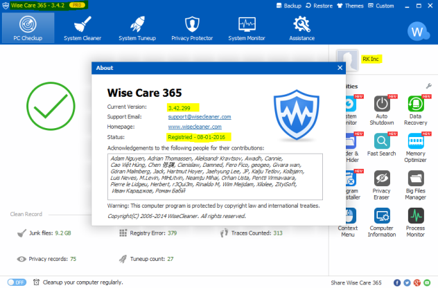 Wise Care 365 Pro v3.42 Activation Preview