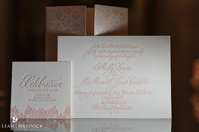 pink letterpress invitations