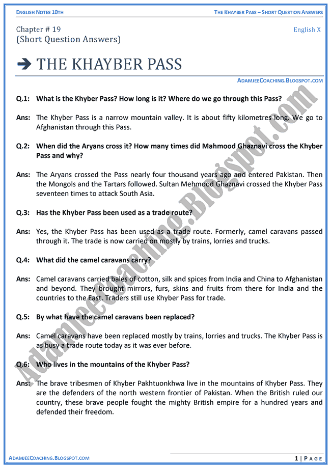the-khayber-pass-question-answers-english-x