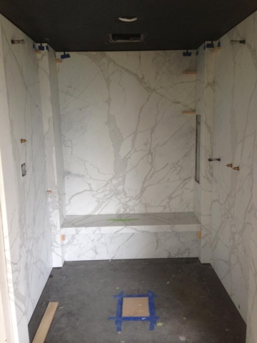 1cm Marble Slab Shower Walls