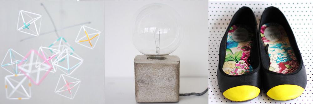 ... mobil med geometriska figurer 2. bordslampa i betong 3. dippade skor