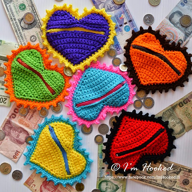 free crochet pattern heart coin purse