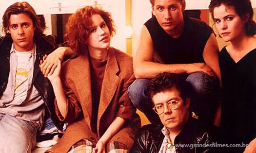 John Hughes com parte do elenco principal de Clube dos Cinco