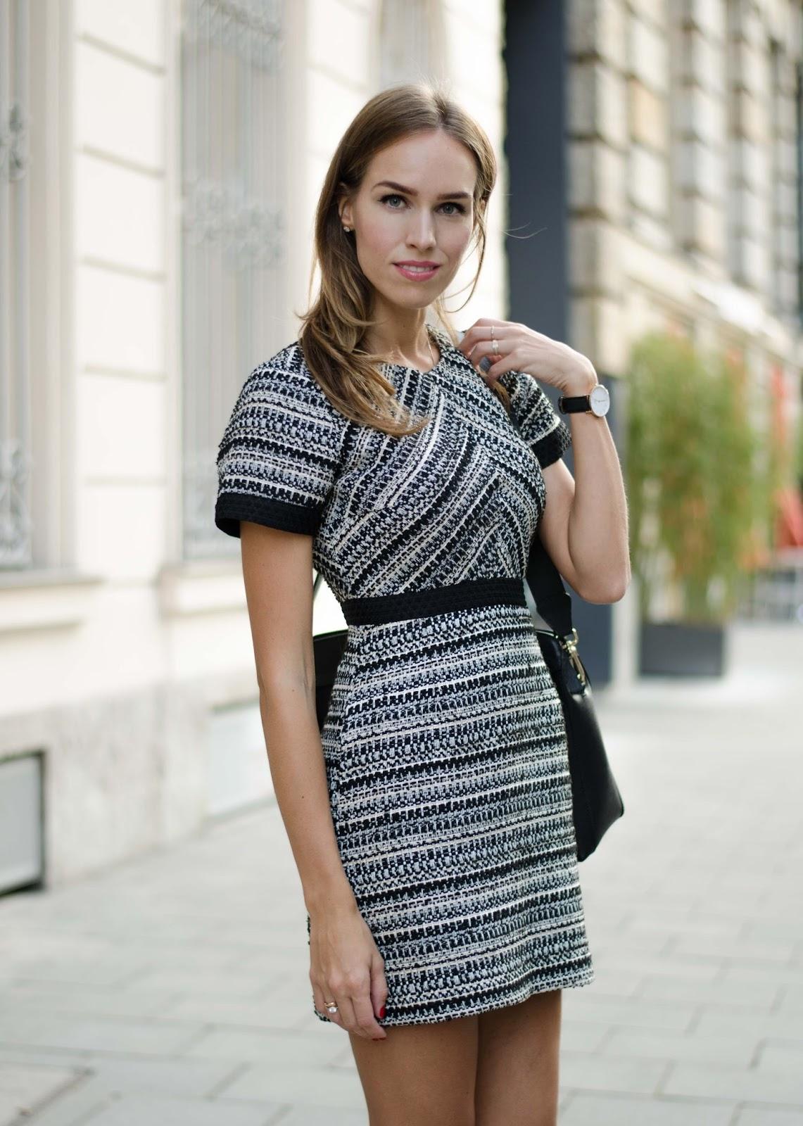 kristjaana mere hm black white striped structured mini dress