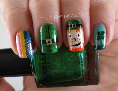 St Patty's Day, St Paddy's Day, Saint Patrick's Day, Leprechaun, Nail Art, Barielle, Stripe Rite, China Glaze, FingerPaints, Avon
