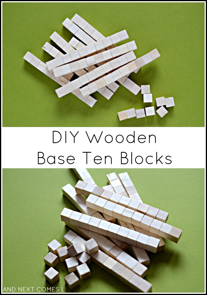 DIY wooden base ten blocks for math learning from And Next Comes L
