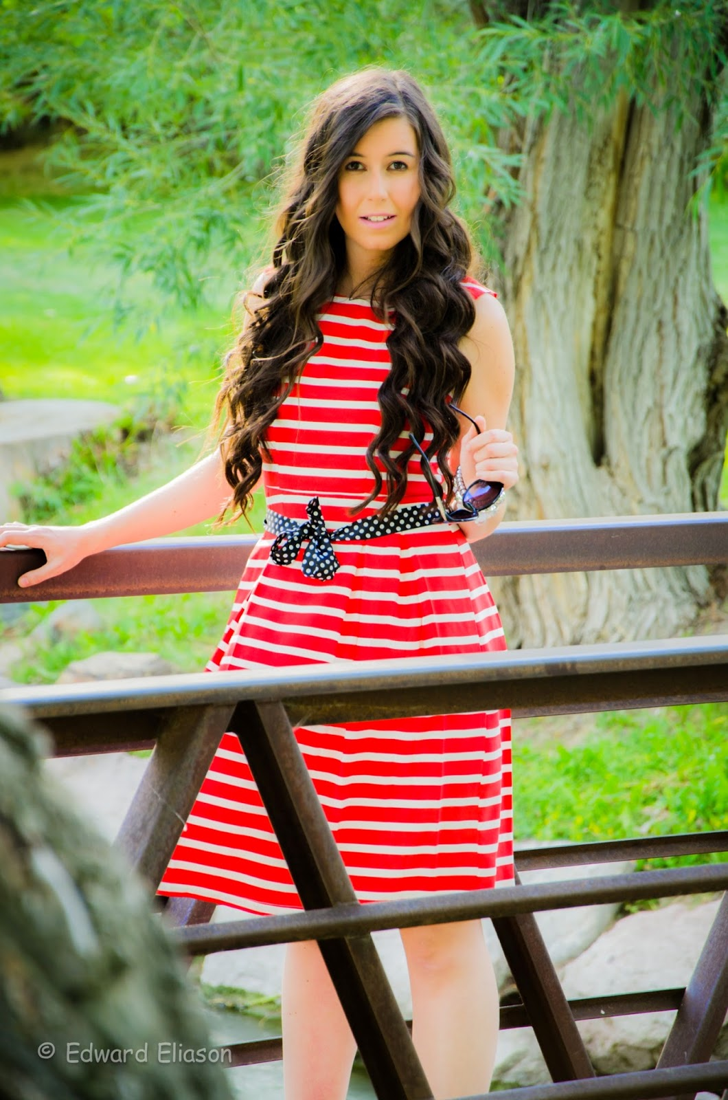 red striped dress, polka dot belt, red stripes and polka dots, fit and flare dress, blackfive fashion, black five, murray park, utah, so cute,