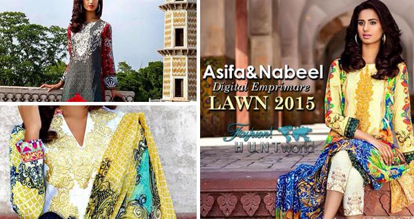 Asifa & Nabeel Digital Emprimare Lawn 2015-2016