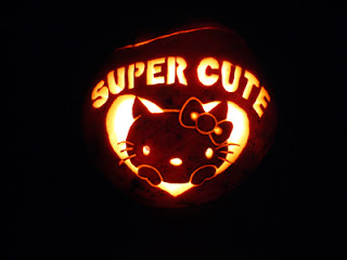 Hello Kitty super cute carved jack o'lantern pumpkin