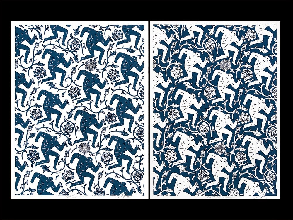 """Pattern of Corruption"" Blue & White OBEY Giant Screen Prints by Shepard Fairey & Cleon Peterson"
