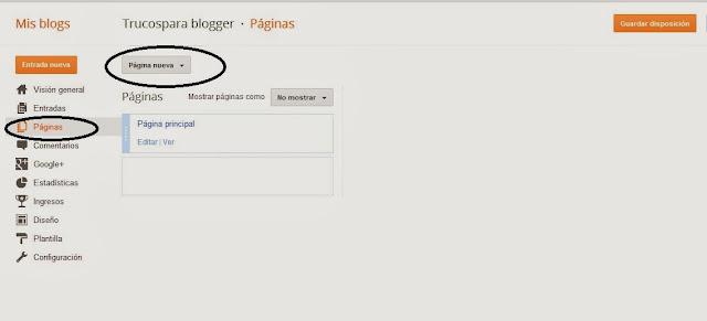 poner nuevas Pestañas en blogger