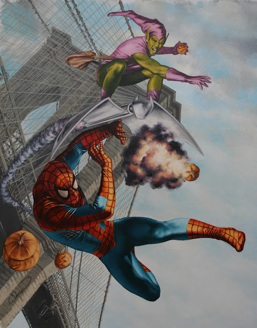 Spiderman and the Green Goblin oil painting