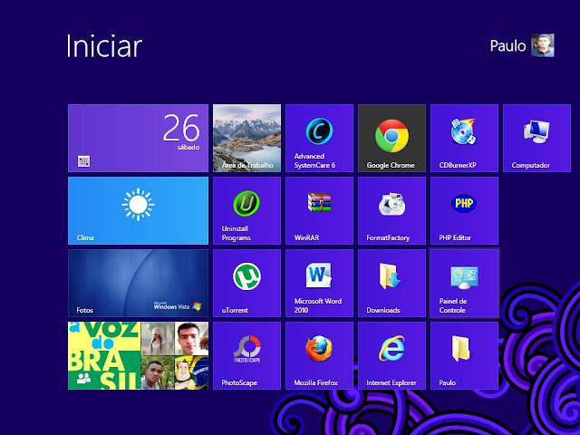 Tela inical do Windows 8 do PC do Paulo Rocha