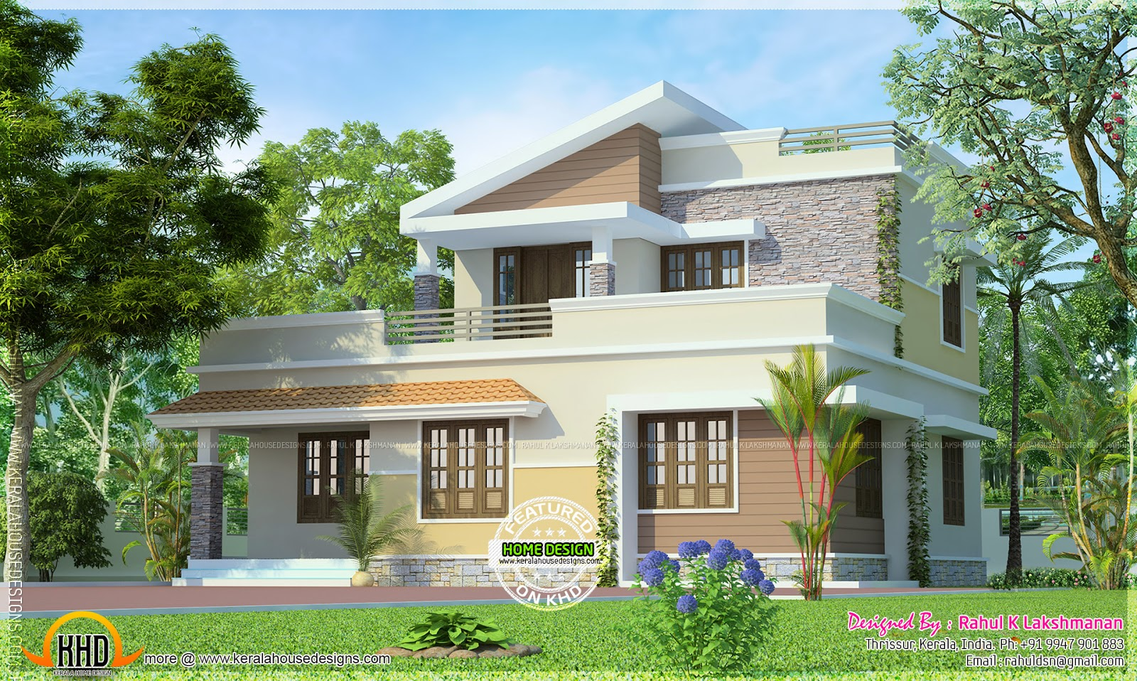 February 2014 kerala home design and floor plans for Small two floor house