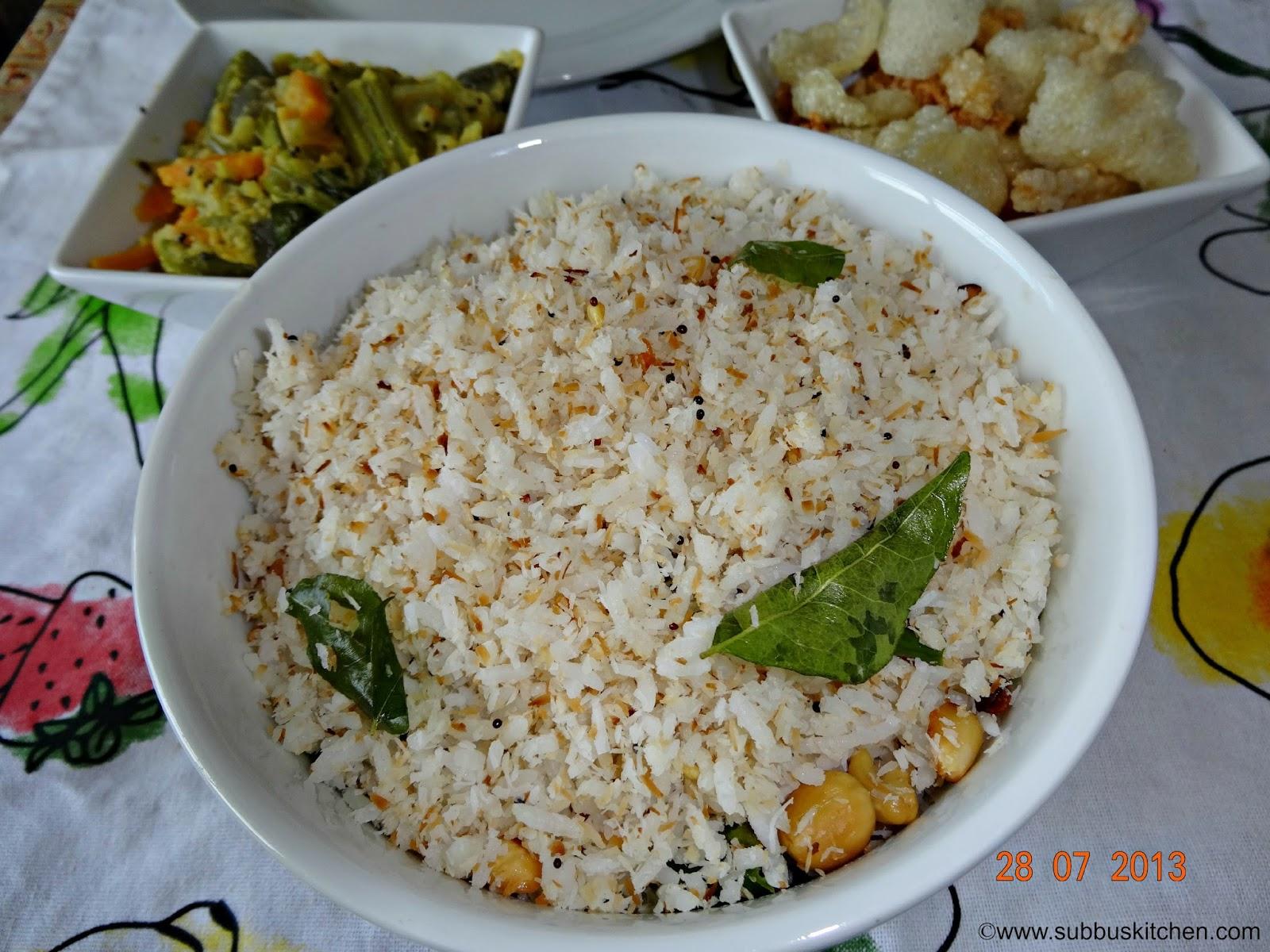 Coconut Rice Recipe | Thengai Sadam Recipe | Subbus Kitchen