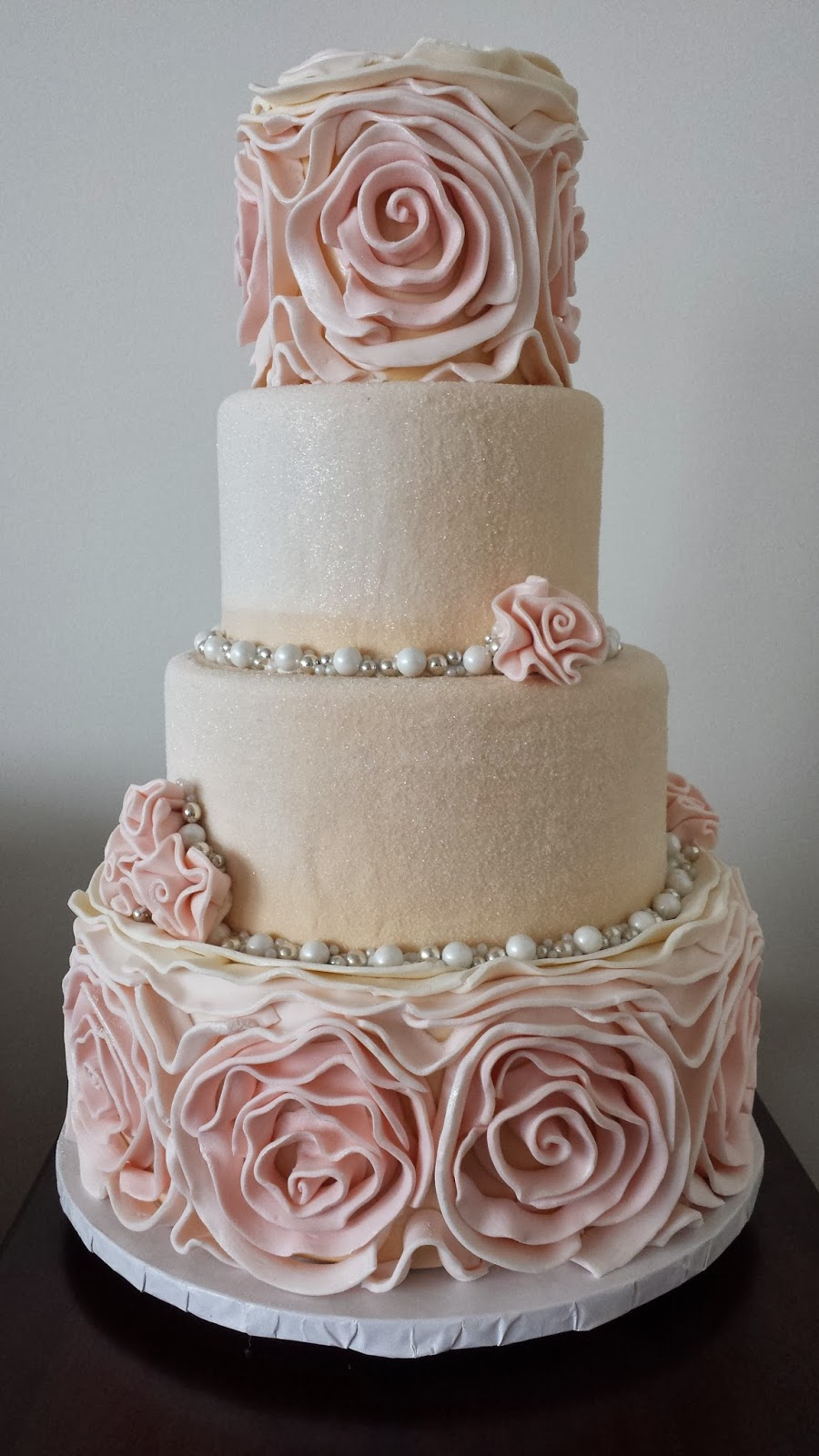 Square Rosette Wedding Cake