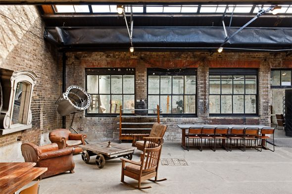 Vintage Industrial Chic Deco Furniture Warehouse Wedding