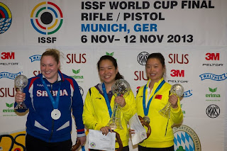 Zorana Arunovic (Sérvia), Zhang Jingjing (China) e Yuan Jing (China) - Pistola 25m - Final da Copa do Mundo ISSF de Carabina e Pistola 2013 - Foto: ISSF/ Divulgação