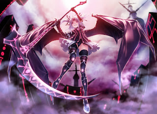 Female Girl Bat Wings Death Scythe Smiling Anime HD Wallpaper Desktop PC Background 1837