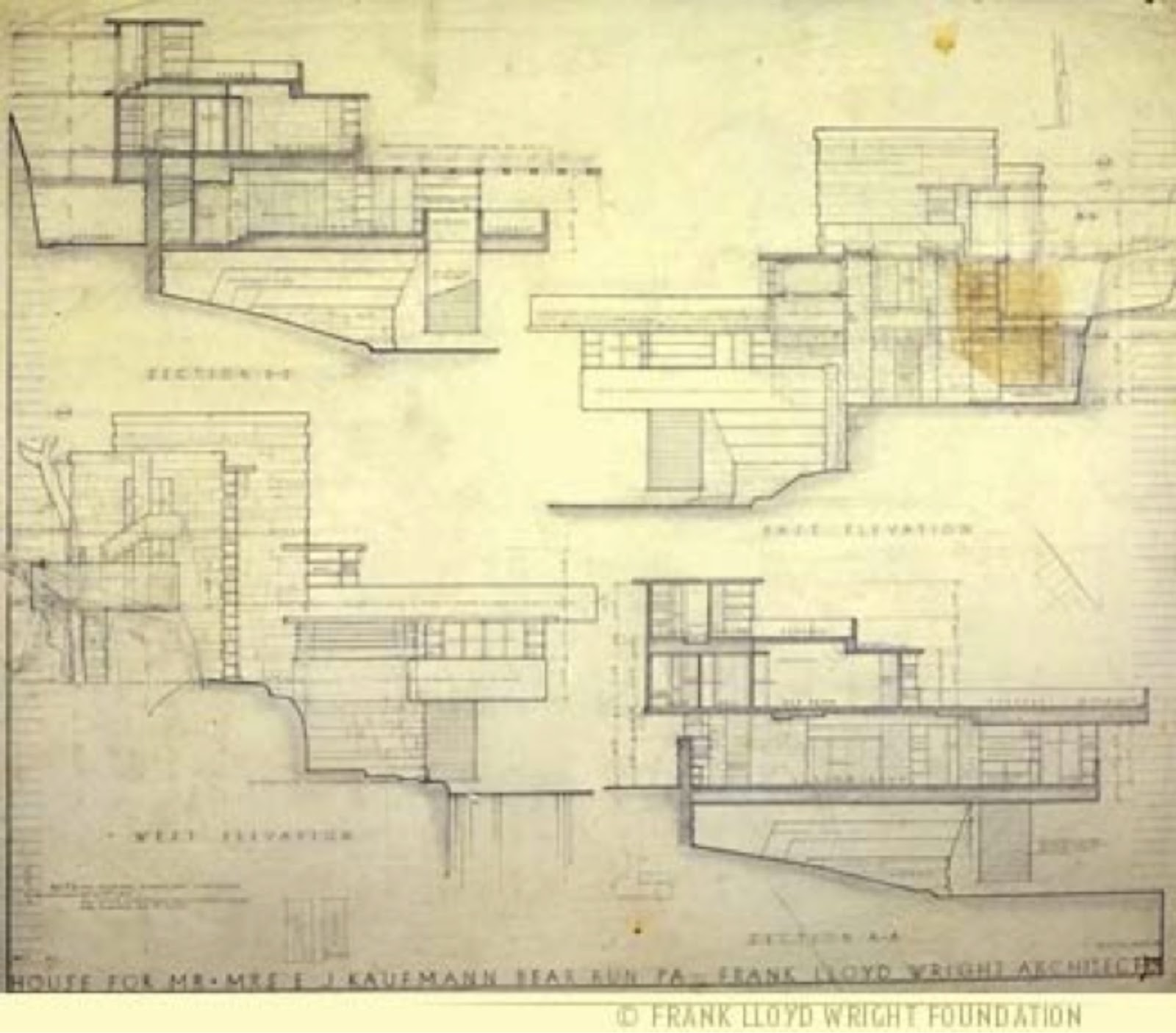 Falling Water  Frank Lloyd WrightFalling Water Blueprints