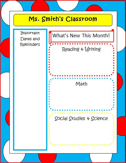 The 2nd Grade Spot!: Dr. Seuss Back to School Forms