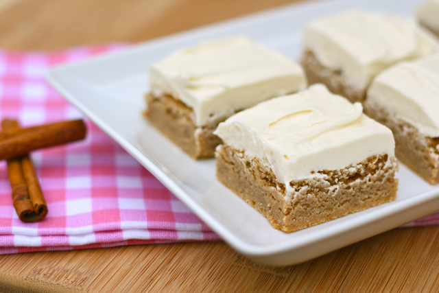 Cinnamon Blondies with Vanilla Buttercream