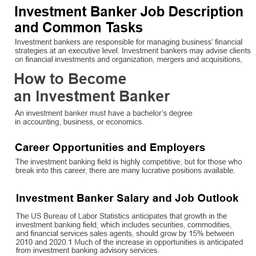 1Active: Investment Banker Job Description - Main & Original
