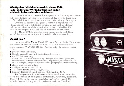 Opel Manta A series GT/E Sales Brochure Page 2