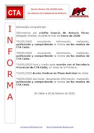 C.T.A. INFORMA CRÉDITO HORARIO ANTONIO PÉREZ, ENERO 2020