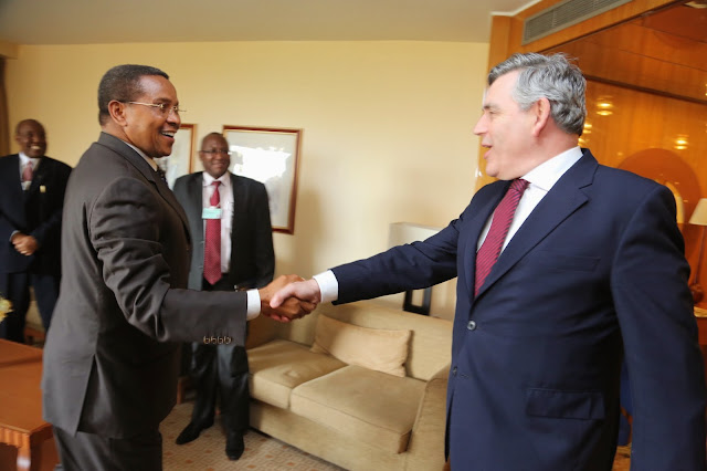 President Jakaya Mrisho Kikwete in a bilateral meeting with Rt. Hon. Gordon Brown (MP), UN Special Envoy for Global Education and Former British Prime Minister in the sidelines of the World Economic Forum on Africa in Abuja, Nigeria, May 7, 2014.