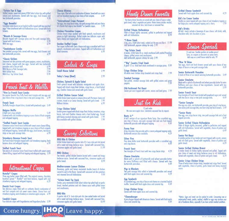 IHOP menu prices are reasonable and affordable. The menu is composed of categories such as pancakes, omelettes, egg combos, French toast, and Belgian waffles, as well as a separate IHOP lunch menu and IHOP kids menu/5(84).