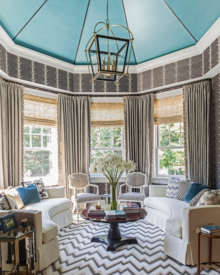 Modern-traditional bedroom in the Hamptons with grape vine wallpaper, chevron pattern rug and dotted pillows