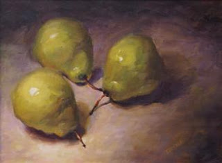 three green pears print
