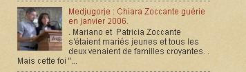 Medjugorje : Chiara Zoccante guérie en janvier 2006.