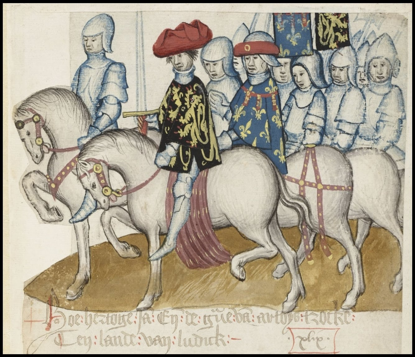 medieval nobles and soldiers riding horses